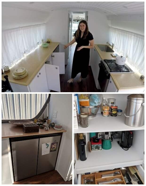 Кухня маленького дома на колесах оснащена всем необходимым («Greyhound»).