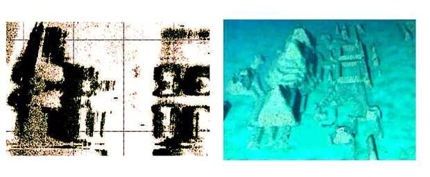 Слева — данные сонара, полученные при изучении области дна, впоследствии получившей название «Кубинский подводный город». Справа — компьютерное моделирование на их основе. Большинство океанологов склоняются к мнению, что это просто причудливо выглядящие естественные образования / ©Keith Fitzpatrick-Matthews | Badarcheology