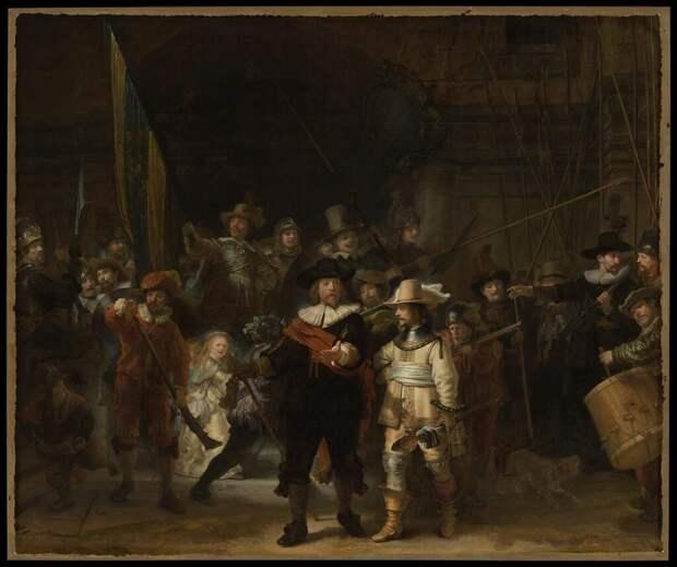 """Обрезанный """"Ночной дозор """" Рембрандта показали целым благодаря искусственному интеллекту"""