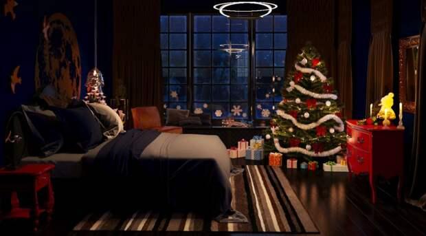 """Атмосферный интерьер спальни """"Ночь накануне Рождества"""""""