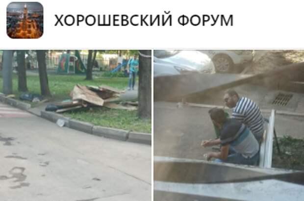 Строительный мусор с Хорошевского шоссе убрали после осушения подвалов — управа
