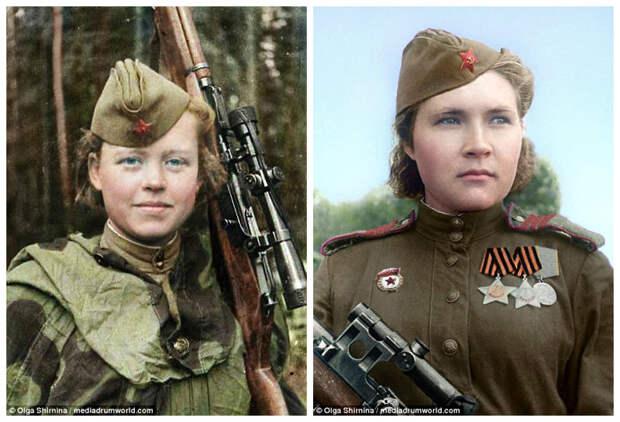 Снайперы Надежда Никитична Колесникова (слева) и Любовь Михайловна Макарова (справа) женщины СССР, колоризация, колоризированные снимки, раскрашенные, снайперы