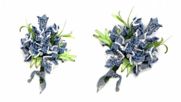 Букет цветов из джинсовой ткани. Мастер-класс