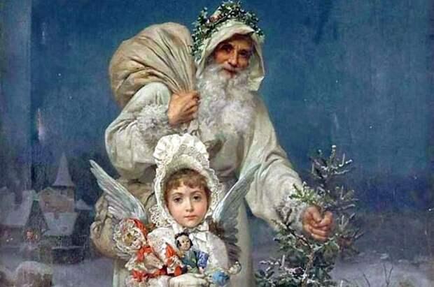 Старинная открытка с Дедом Морозом и Снегурочкой.