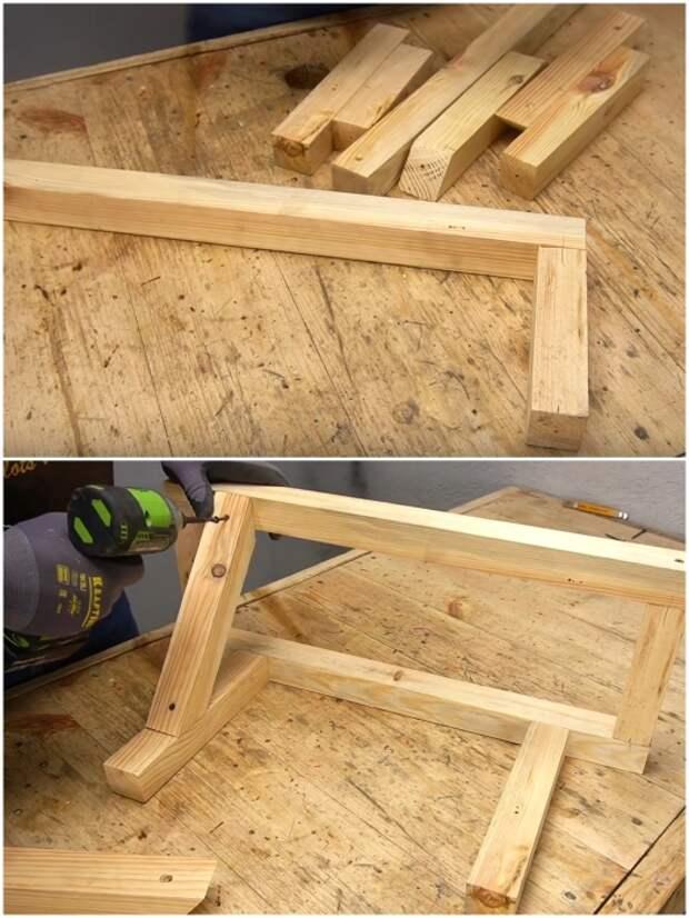 С помощью саморезов нужно собрать каркас из деревянных брусьев. | Фото: youtube.com/ © Men's Craft.