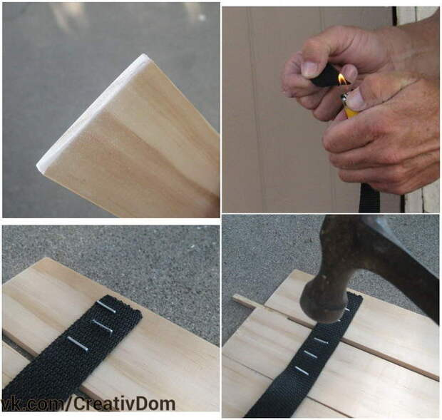 Скрепляем дощечки столешницы тесьмой с помощью скоб. Уложите планки столешницы изнаночной стороной вверх, так как это будет будущий низ столешницы. В качестве разделителя можно использовать любые одинаковые обрезки дощечек.