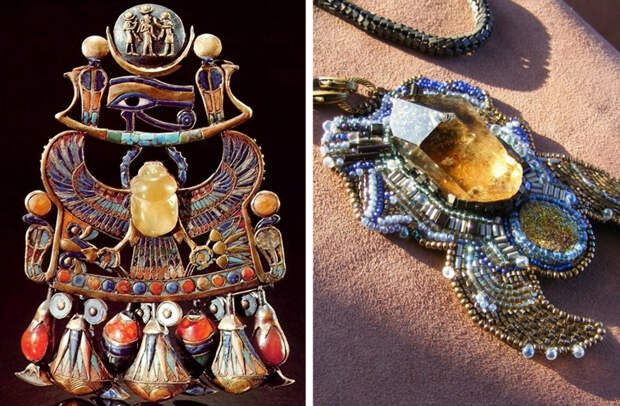 Ожерелье фараона Тутанхамона (слева). Современная подвеска с ливийским стеклом (справа)