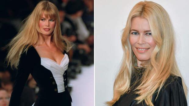 Клаудия Шиффер в 90-е годы и сейчас (коллаж)