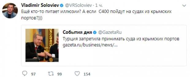 Соловьев прокомментировал запрет Турции принимать суда из крымских портов