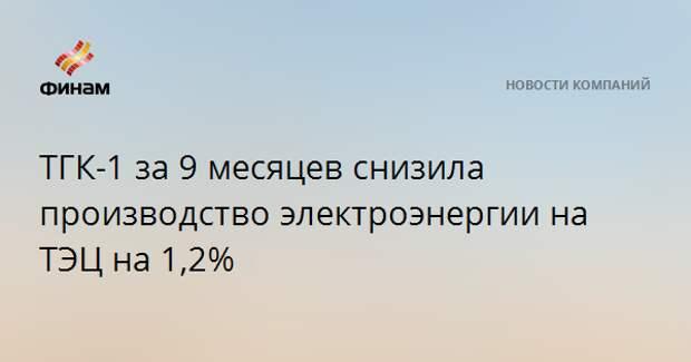 ТГК-1 за 9 месяцев снизила производство электроэнергии на ТЭЦ на 1,2%