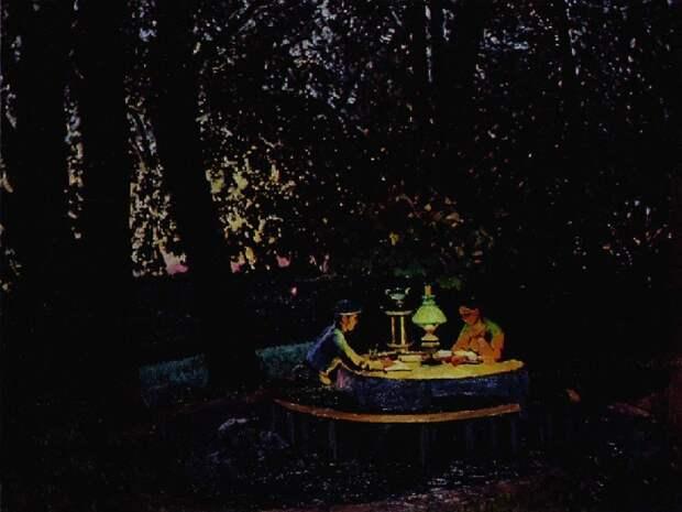 Ночь. Тверской бульвар. 1909. Автор: Константин Юон.