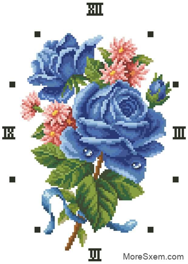 Часы голубые розы