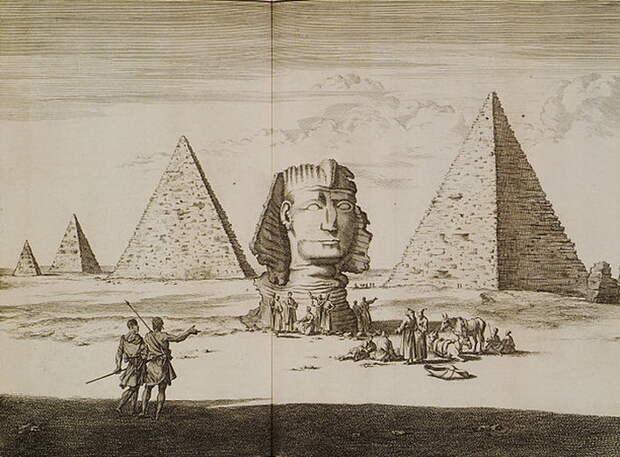 Корнелис де Брюйн, сам побывавший в Египте, изобразил пирамиды Гизы вот так