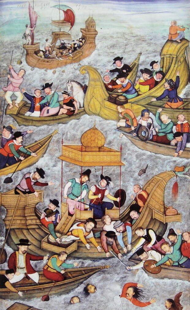 Гибель султана Бахадура от рук португальцев в миниатюре в «Акбар-наме» (конец XVI века) - Диу: город в подарок | Warspot.ru