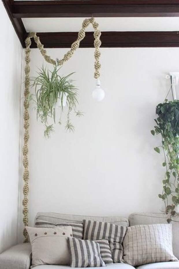 Идеи шедеврального применения обыкновенной веревки в интерьере