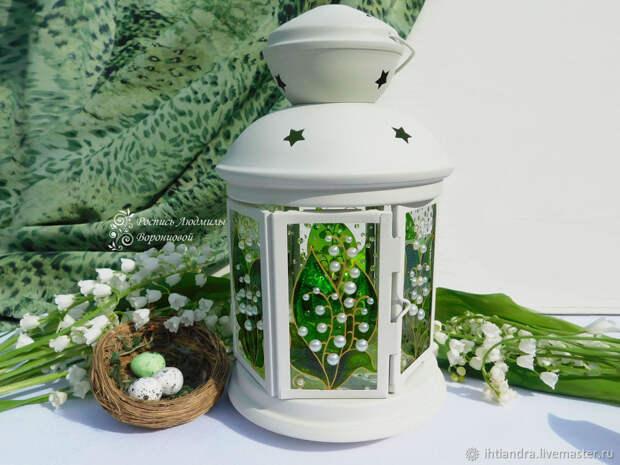 Создаём витражный фонарик с весенними ландышами
