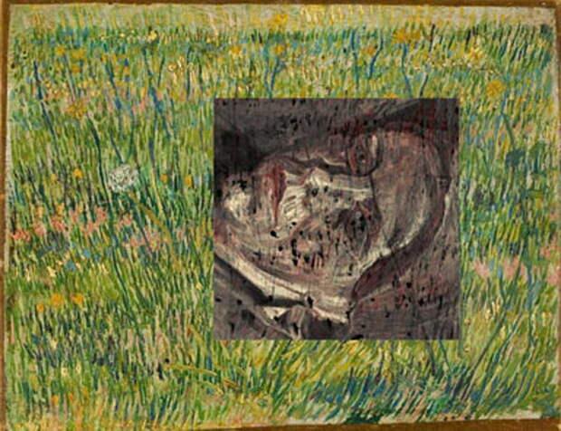 Ван Гог «Лоскут травы». Картина была написана поверх портрета - так художник справлялся с нехваткой денег на новый холст