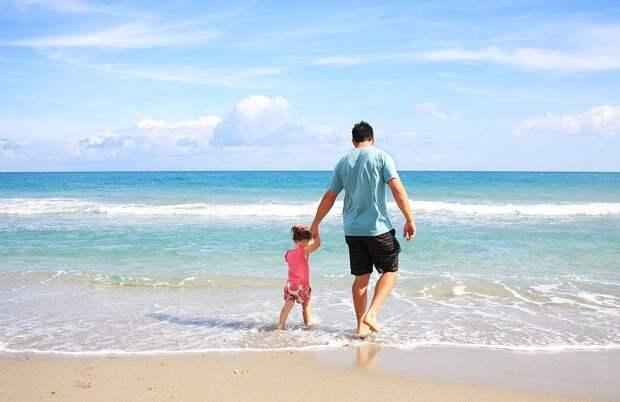 Отец, Дочь, Пляж, Семья, Папа, Солнечный, Отпуск