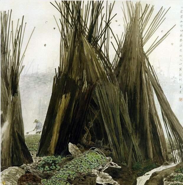 """""""В тех буйных травах, в гуще темных рощ совсем моя лачужка потерялась..."""" Китайская художница Chen YuLian"""