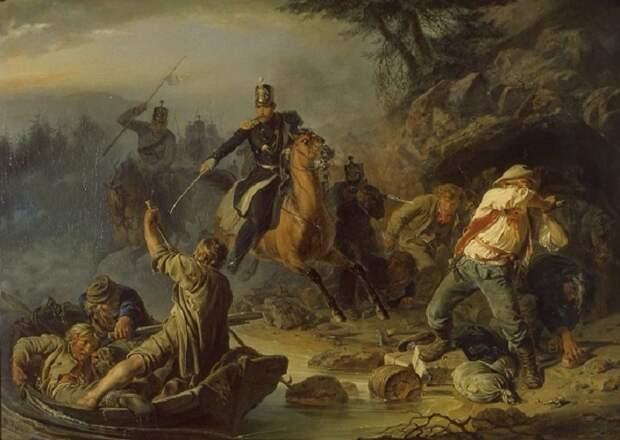 Василий Худяков - «Стычка с финляндскими контрабандистами», 1853