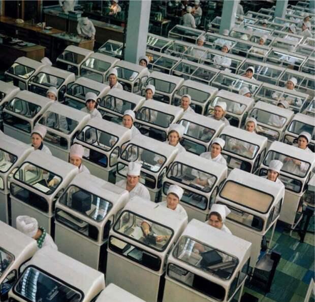 В цехе завода электронного приборостроения «Светлана», 1971 год, Ленинград история, ретро, фото, это интересно