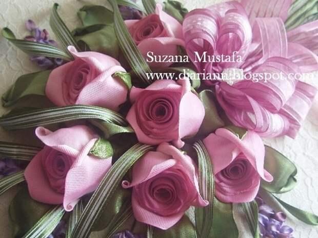 фото роскошные объемные розы из атласных лент. Подробный мастер-класс.
