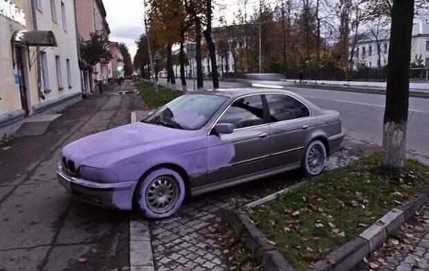 Перекрасил тачку: не идиоты, а оригиналы автомобильные приколы, перекрасил тачку, понты, рисунок на авто, фото, юмор