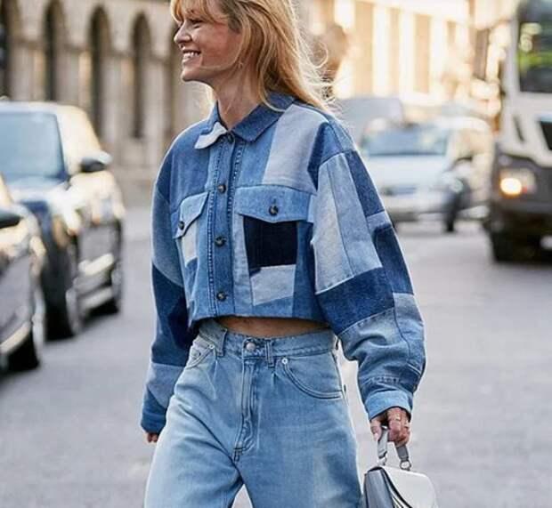 Блузка джинсовый пэчворк