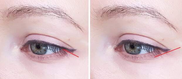 Видно, что основа стрелки уведена ниже внешнего уголка глаза.