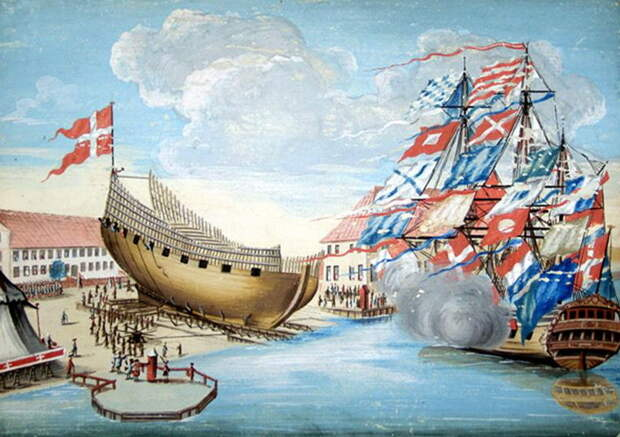 Спуск корабля на воду в Бремерхольме, 1620-е годы - Датский флот Нового времени: пороки и успехи   Warspot.ru