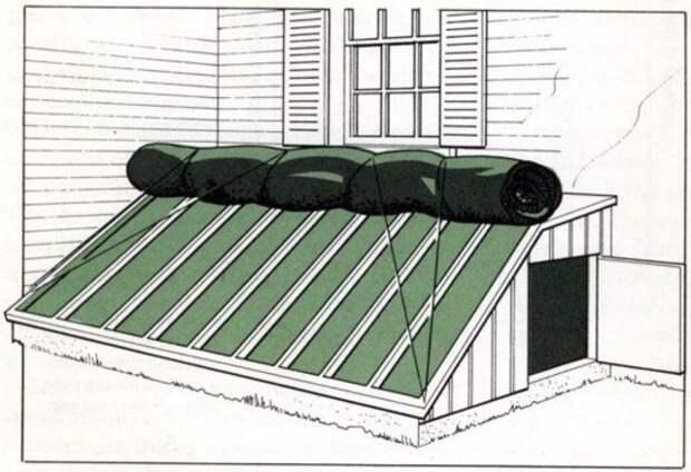 На ночь или в пасмурную погоду застекленную стену можно укрывать стекловолокном или мешками, наполненными листвой