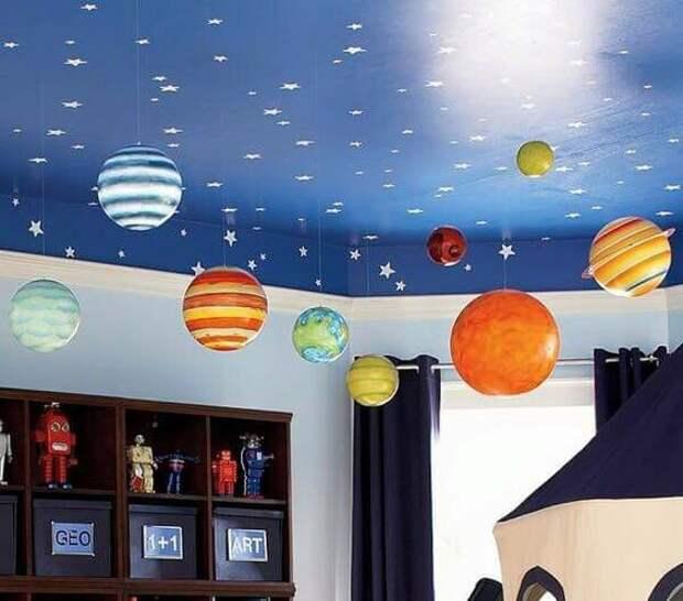 оформить потолок в такой космической детской звездами и планетами