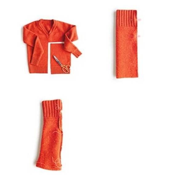 Как сделать теплые митенки из старого свитера: пошаговая инструкция.