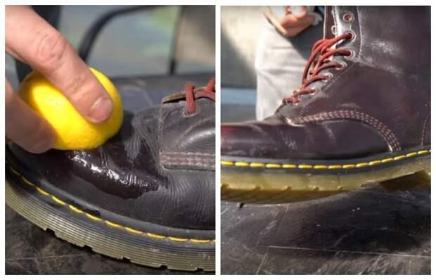 Намного лучше с этой задачей справится специальное средство для кожаной обуви