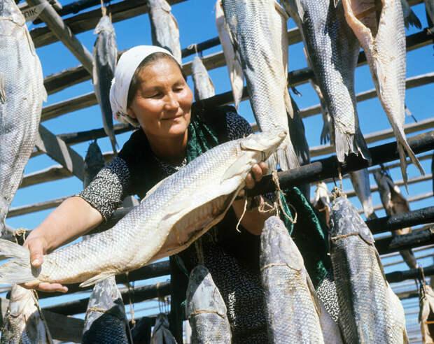 1968 г. Труженица Бегуньского рыбзавода. Казахстан.