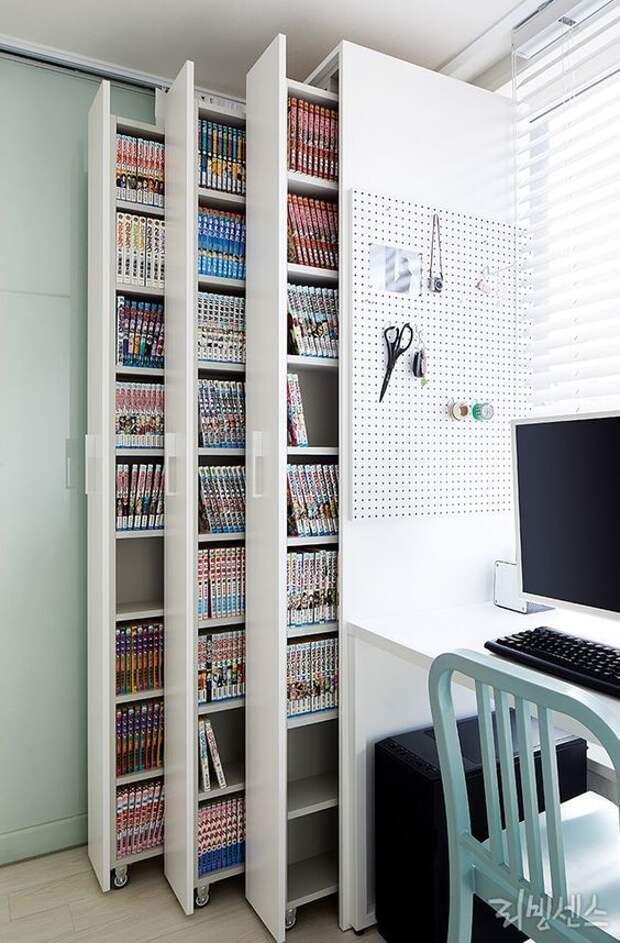 выдвижные книжные шкафы