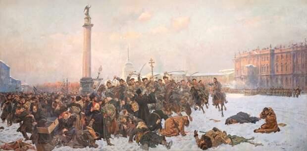 В. Коссак. Кровавое воскресенье в Петербурге 9 января 1905 года.