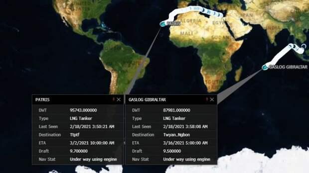 Шедшие заСПГ вСША танкеры меняют курс