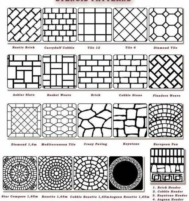 А это паттерны (рисунки) для трафаретов под плитку и камень для пола, да можно и для стен Фабрика идей, красиво, креативно, полы, своими руками, стены, фактура