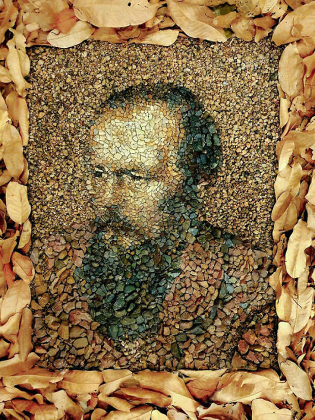 Потрясающие картины Джастина Бейтмана из пляжной гальки и камней