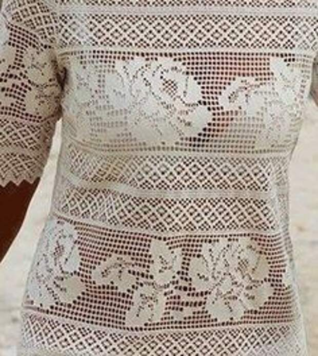 Невероятной красоты филейное платье с розами 1
