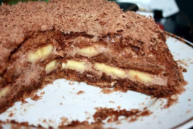 Рецепт шоколадно-бананового торта без выпечки