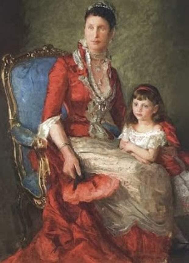 Луиза Датская с одной из дочерей. / Фото: www.wikimedia.org