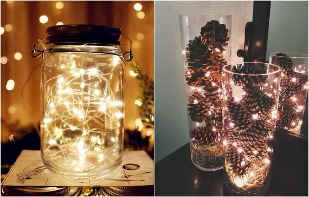 Импровизированный светильник получается из прозрачной емкости и гирлянды