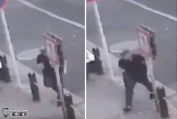 Уличная камера засняла странное явление, похожее на телепортацию человека
