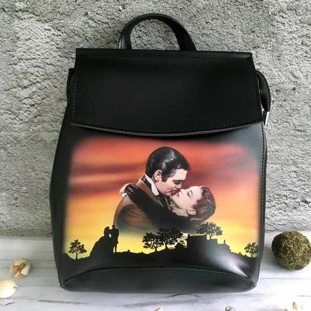 """Рюкзак с ручной росписью """"Унесенные ветром"""" автор Lenali Art"""