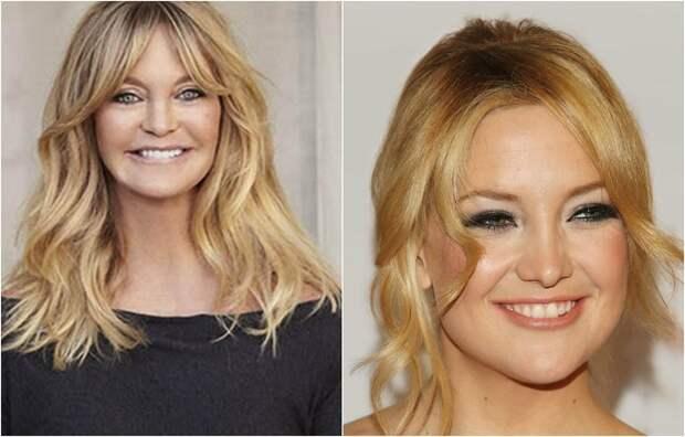 Лауреат премии «Оскар», восхитительная блондинка Голди Хоун и, как две капли воды похожая на нее дочка Кейт Хадсон.