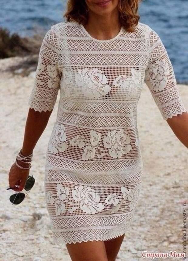 Невероятной красоты филейное платье с розами 2