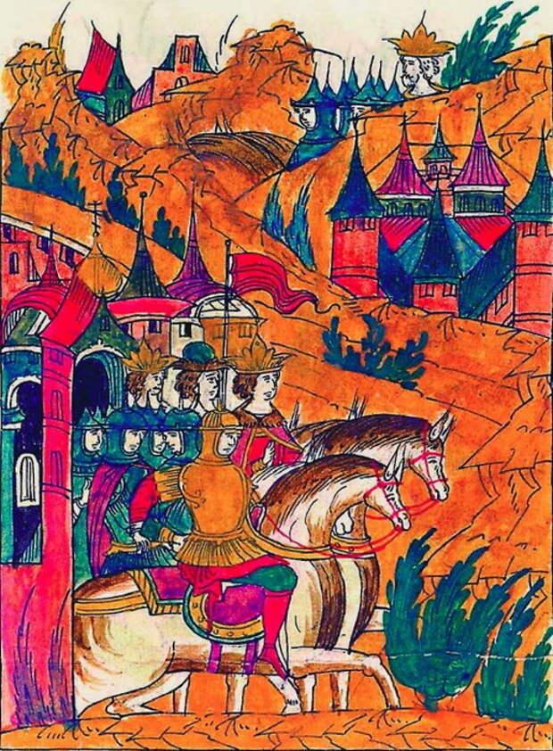 Иван Грозный выступает из Москвы против хана. Миниатюра из Лицевого свода, том 22 - «Ознаменованная славой отчаянной битва…» | Warspot.ru