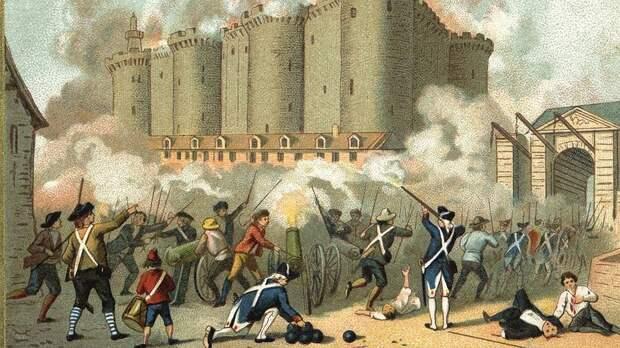Штурм Бастилии. Раскрашенная гравюра. XVIII век.